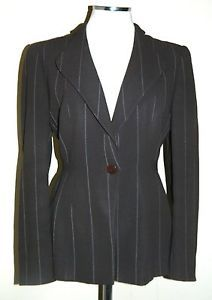 Giorgio Armani Le Collezioni brown striped button up blazer medium/large