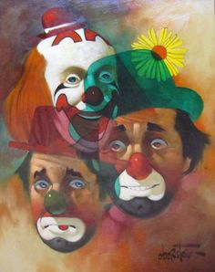 Chuck Oberstein | OIL | Three Clown Faces