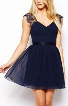 Dark Blue Backless V-neck Sleeveless Lace Splicing Chiffon Dress