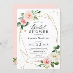 """""""Blush Pink Flowers with modern frame"""" is one of the most popular theme for Bridal and Baby Showers. We created amazing custom invitation designs offering a fully coordinating wedding suite for this theme from Invitations to RSVP card, Enclosure Card, Labels, Sign Posters and more. Elegant Wedding Invitations, Engagement Party Invitations, Bridal Shower Invitations, Custom Invitations, Wedding Rsvp, Sage Wedding, Rustic Wedding, Glitter Invitations, Wedding Suite"""