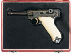"""Attractive Cased Engraved and Gold Inlaid Mauser """"S/42"""" Code 1939 Production P.08 Luger Semi-Automatic Pistol"""