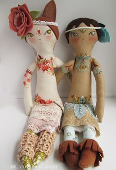 https://flic.kr/p/R3Wjxv | tess and maia | hand embroidered dolls