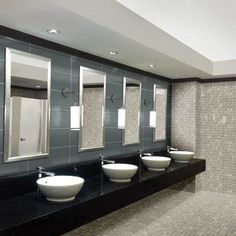 Check out this American Olean product: Photo features Merit Light Gray 2 x 2 mosaic on the back wall and floor, and Perspecta Stellar Gray 8 x 24 on the mirror wall. Mosaic Tiles, Wall Tiles, Tiles Price, Restroom Design, Contemporary Classic, Kitchen Tiles, Porcelain Tile, Wall Design, Mirror
