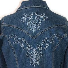 Tantrums Denim Jacket Medium Embellished Trucker Blue Jean Stretch Bling Western    eBay