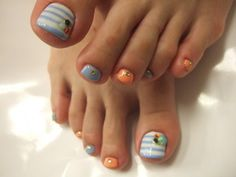 So cute for spring or summer.. just use white polish pen for the stripes