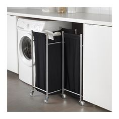 GRUNDTAL Tvättsäck på hjul, rostfritt stål, svart