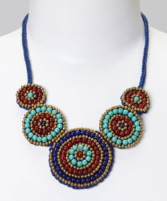 This PANNEE JEWELRY Navy & Turquoise Five Disc Bib Necklace by PANNEE JEWELRY is perfect! #zulilyfinds