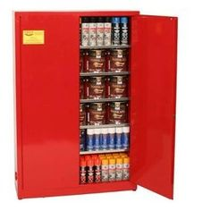 """Eagle PI-77 Safety Cabinet for Paint & Ink, 2 Door Manual Close, 30 gallon, 65""""Height, 43""""Width, 12""""Depth, Steel, Red"""