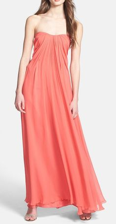 Jill Jill Stuart Pleat Strapless Chiffon Gown available at Coral Bridesmaid Dresses, Prom Dresses, Bridesmaids, Peach Wedding Theme, Dress Wedding, Long Summer Dresses, A Line Gown, Chiffon Gown, Orange Dress