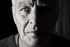 Black and white portrait of mature man