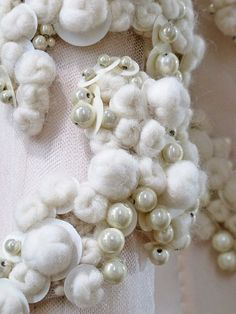 Surface Adornment - embellished fabric design with white wool balls, sequins & pearls - haute couture dress detail; textiles for fashion // Givenchy