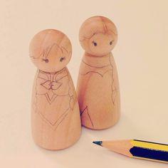 DIY craft Anna & Elsa Frozen Peg Dolls Very Cute! ~ Creativehozz About Home Decorating Design, Entertainment, Kids, Creative Ideas, Crafts