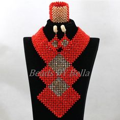 Big Jewelry, Coral Jewelry, Beaded Jewelry, Jewelry Sets, African Necklace, African Beads, Cheap Necklaces, Unique Necklaces, Beaded Statement Necklace