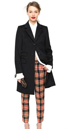 Classic trench, coat crisp white shirt, plaid pants and appropriate accessories = one of my favourite looks