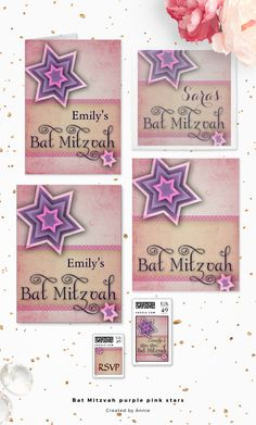 Fun, fresh design with a pink cream background and a cream bar with pink and white polka dot accent border.Star of David in the upper left hand corner is multiplied with pink, purple, grape and white.Bat Mitzvah is in dark ink with a super fun typography font. ♥ Pinnable image courtesy @ohsoprettypaper