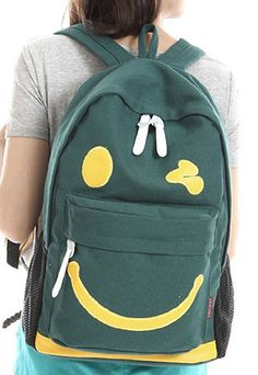 21.99 USD  grzxy6200065 Leisure Smile Print Canvas Backpack Heat  Smile  Print Style  ae5a174bf755b