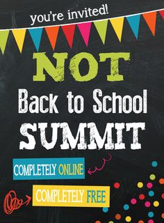 Back by popular Demand! The 2015 Not Back to School Summit! A Completely FREE & ONLINE homeschool conference! Such a great resource! Too Cool For School, School Fun, Back To School, High School, Classroom Activities, Kids Learning, How To Memorize Things, Encouragement, Education
