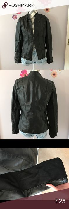 Mossimo Faux Leather Jacket Faux Leather Jacket with fabric on the arms. Size small. Zipper detail on the sides of the jacket and on the sleeves. The closure is a hook. There is slight piling on the fabric areas. Mossimo Jackets & Coats