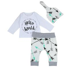 Boys Hello World Top + Hat + Arrow Pants Outfit