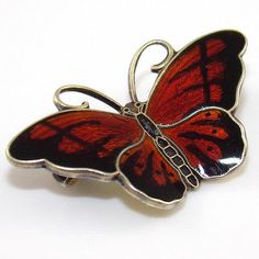 Sterling Silver Hroar Prydz Red Black Enamel Butterfly Pin Brooch