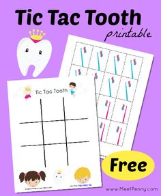 National Children's Dental Health Month Tic Tac Toe Toothfairy printable game with links to help with National Dental Health Month OR when your child is losing their first tooth. Dental Games, Dental Kids, Free Dental, Children's Dental, Dental Health Month, Oral Health, Science Education, Health Education, Physical Education