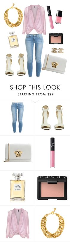 """""""Pretty in Pink"""" by melissaspinkworld ❤ liked on Polyvore featuring Frame Denim, Versace, NARS Cosmetics, Chanel, Manon Baptiste and Ben-Amun"""