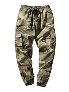 YUNY Mens Baggy Solid High Rise Cotton Outdoor Camo Print Jogger Pant Black 40