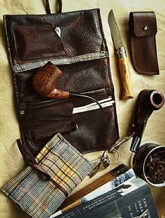 Pipe pouch and Opinel knife.
