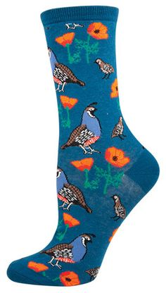 The Joy of Socks - Deep Blue Quail and Poppies Socks (Women's), $7.50 (http://www.joyofsocks.com/deep-blue-quail-and-poppies-socks-womens/)