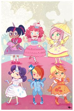 Friendship is Magic Pony Party mini poster print 8x12.