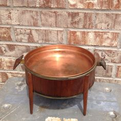 Mid Century Copper / Brass / Wood - Warming / Heating Server / Pan / Dish  - A personal favorite from my Etsy shop
