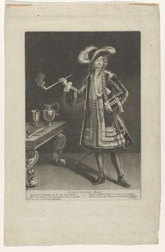 Jacob Gole   Portret kapitein Jan Bart, staand met pijp, Jacob Gole, c. 1670 - c. 1724   Kapitein Jan Bart, in modieuze kleding, een pijp rokend. Met gedicht in de marge