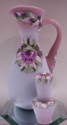 Jug wine glass with purple and pink hand-painted grapes ♥
