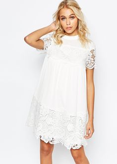Smock Dress With Lace Inserts