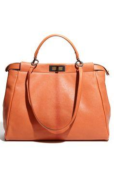 Fendi  Peekaboo - Large  Goatskin Leather Satchel  99208107fa631