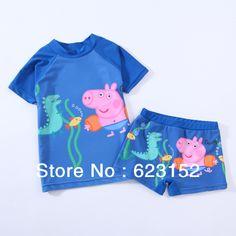 d7d2940af FREE SHIPPING Children Boy's Swimsuit Sun-Protective Clothing Set Peppa Pig  Swimwear for Boys 2-6year Cartoon Boys Wear $54.47