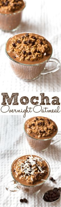 Your morning coffee and breakfast all rolled into one – plus: chocolate! This Mocha Overnight Oatmeal is the perfect grab and go breakfast. Breakfast On The Go, Breakfast Dessert, Breakfast Recipes, Breakfast Ideas, Oatmeal Recipes, Coffee Recipes, Overnight Oatmeal, Yummy Food, Tasty