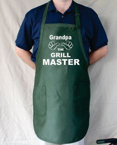 Grandpa The Grill Master Personalized Aprons by Tees2Express, $19.99