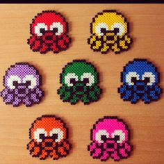 Colorful octopuses hama beads by pilidad7