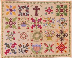 Applique Sampler, 1867. Made by ladies of the Old First Church. Monmouth Co, New Jersey.