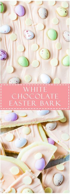 A white chocolate layer topped with pink white chocolate, and studded with Cadbury Mini Eggs and white chocolate chips! (cadbury chocolate bars)