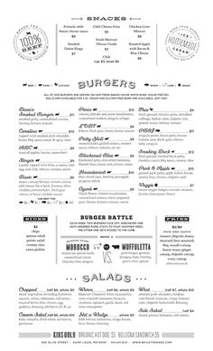The typeface is a sans-serif and it works well with the overall theme of the menu. I feel that this menu needs more color because it looks very plain without it. The square heairarchy is very sophisticated. Cafe Menu Design, Food Menu Design, Restaurant Menu Design, Carta Restaurant, Restaurant Identity, Burger Menu, Burger Restaurant, Diner Menu, Bar Menu