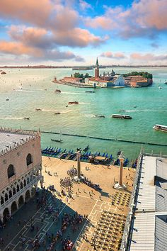Aerial view form St Marks Campinale of St Marks Square and the Doges with the island of San Giorgio Maggiore behind, Venice