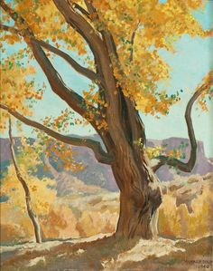 Fine Art - Painting, American, MAYNARD DIXON (American, 1875-1946). October Morning, 1940.Oil on board. 19-1/2 x 15 inches (49.5 x 38.1 cm). Signed