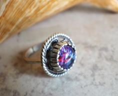 Round dragons breath glass opal ring in antique silver plated brass Fire Opal Engagement Ring, Vintage Anniversary Rings, Rock Rings, Opal Rings, Silver Rings, Morganite Ring, Princess Cut Diamonds, Unique Rings
