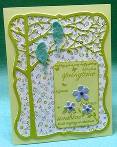 Die Cut tree over patterned paper
