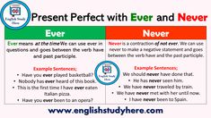 Present Perfect Tense with Ever and Never - English Study Here English Grammar Tenses, Teaching English Grammar, English Grammar Worksheets, English Language Learning, English Idioms, English Study, English Lessons, Learn English, English English