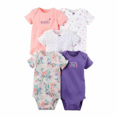 CARTERS Carter's 5-pk. Short-Sleeve Purple Cotton Bodysuits - Baby Girls newborn-24m