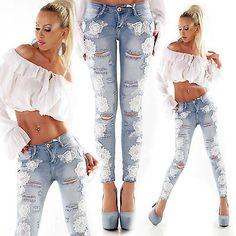Women Jeans Skinny New Ladies Pants Lace size 6 8 10 12 Blue XS S M L XL Trouser