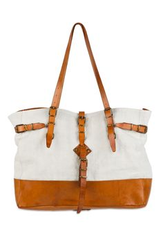 n.d.c. made by hand - leather and canvas tote